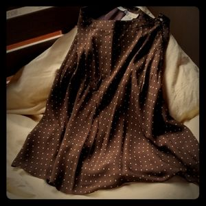 Brown polka dot pure silk Jones NY skirt.